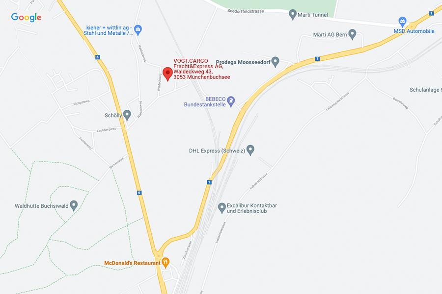 Karte Standort VogtCargo Fracht&Express GmbH, Bern